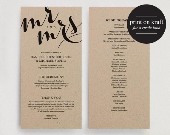 Trust image regarding printable wedding programs