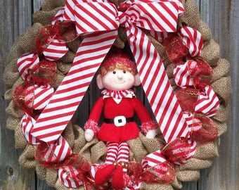 Christmas Burlap Wreath, Christmas Wreath, Christmas Elf Wreath, Elf Wreath, Christmas Decor, Christmas Decorations, Elf Decor, Door Wreath