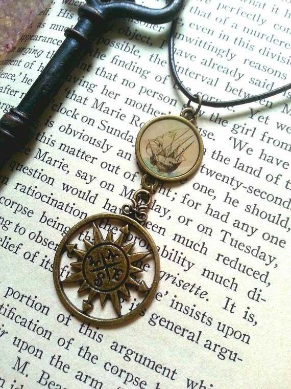 Ship and compass necklace