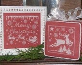 One Color Wonder: Merry Christmas, design for counted cross stitch
