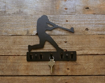 Baseball Player Decorative Metal Key Holder / Wall Hook / Key Rack