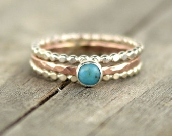 Rose Gold and Turquoise Ring Stack
