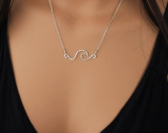 Pipeline Wave Necklace, Gold Filled or Silver