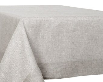 Linen Tablecloth, Square/ Rectangle, Eco Friendly Table Top, Natural Linen,  Gray