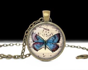 Butterfly Pendant Butterfly Jewelry Wearable Art Butterfly Necklace Teal Blue Butterfly Jewelry Charm