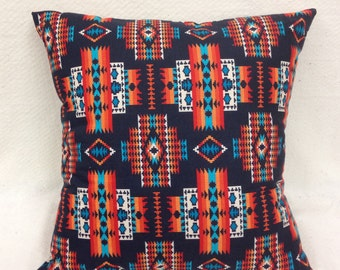 Canadian Made, Native Decorator Pillow, Black Background, Native American, Southwestern, Cotton, Native Made