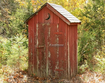 Outhouse, Photograph, Bathroom, Home Decor, Photo, Vintage, wall art, old, photography, free shipping
