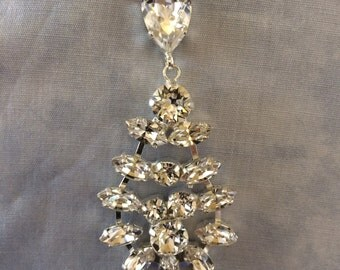 Swarovski Clear Statement Earrings, wedding earrings, bridal earrings, teardrop earrings, diamond cut Crystal, chandelier earrings