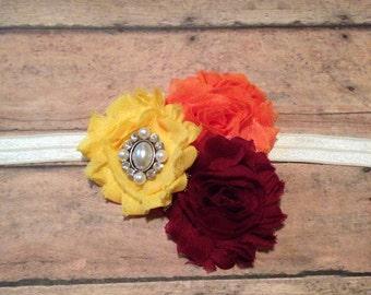 Fall headband - burgundy, yellow, and orange