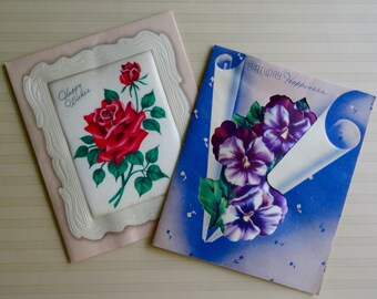 1930s Satin Flowers Birthday Cards (set of two)