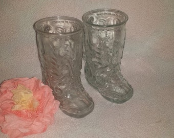 Vintage Beer Steins, Beer Mugs,Cowboy Boots Mug, Cowgirl Boot Glass, Boot Beer Stein, Boot Mugs,Glass Boot Glasses, Western Mugs