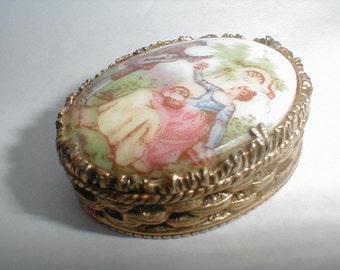 Vintage Mary Chess Perfume White Liliac Victorian Porcelain Gold Box Pendant