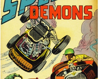 Vintage Reproduction Racing Poster Speed Demons Hot Rod Racing 1950's