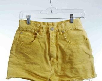 90s yellow jean shorts