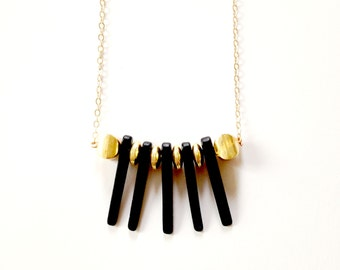 Bad Finger Dagger Pendant Rock and Roll Matte Black and Gold Necklace