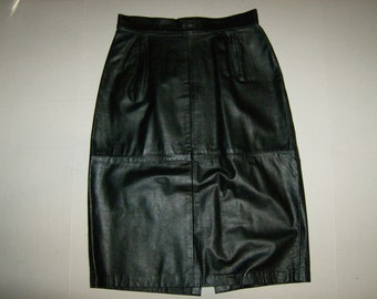 Vintage Black Leather Skirt Size Small Medium