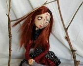 OOAK art doll, ooak gothic art doll, goth doll, Eleanor
