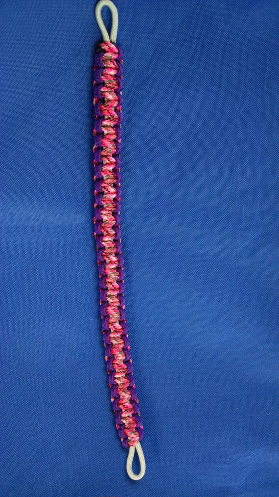 Horse Tack: Paracord Brow Band- camoe pink and purple w/ grey core