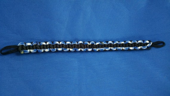 Horse Tack: Paracord Brow Band- Black and Royal Blue White w/ black core