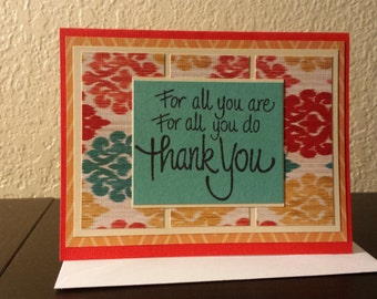 Thank You card homemade colorful