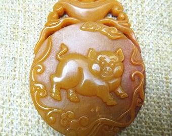Free shipping natural yellow jade pendant amulet Chinese zodiac Pig Pendant