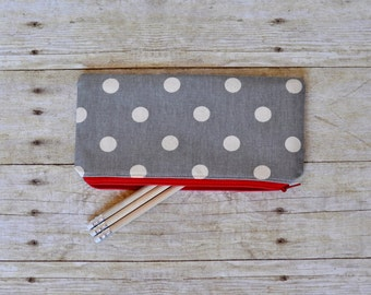 Gray and red pouch, gray pencil pouch, pencil pouch, zippered pouch, gray and red zippered pouch, brushes pouch, pencil bag