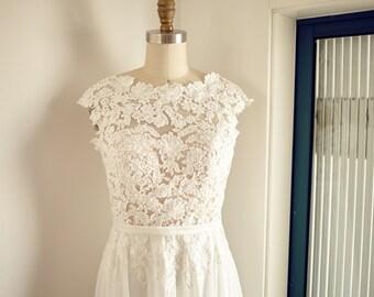 Boat Neckline Lace Chiffon Wedding Dress Backless Open Back V Back Bridal Gown