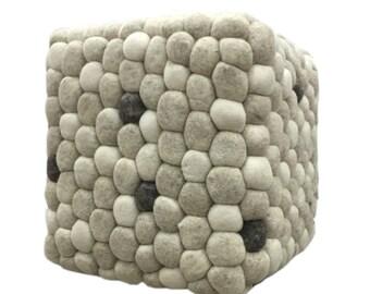 Handmade Woolen Pebble Pouf | Beige | Unique Handmade Stone Wool Pouf Ottoman Footstool