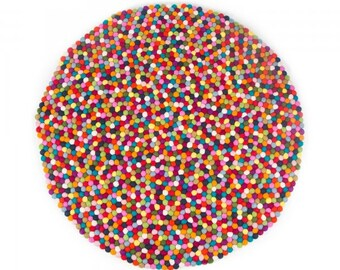 Handmade Wool Felt Ball Rug | Multicolor | 120cm