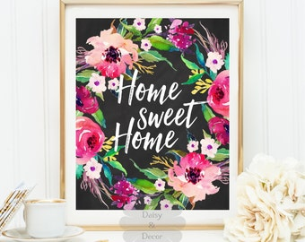 Home sweet home quote art print home wall decor office decor display door welcome sign home housewarming gift home art print wall gift