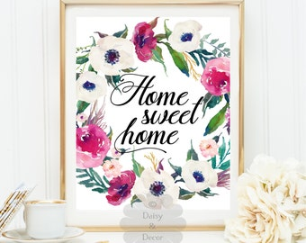 Home sweet home quote art print home wall decor office decor display door welcome sign home housewarming gift home print art print gift