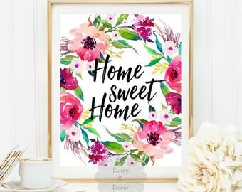 Home sweet home quote art print home wall decor office decor display door welcome sign home housewarming gift home print art modern gift
