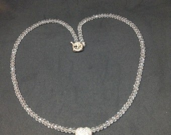 Sterling silver heart necklace with chrystals.