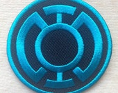 Super Hero Blue Lantern Iron On Patch #Black with Blue
