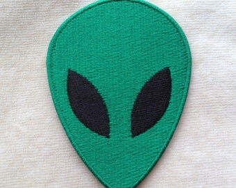 Green Alien Iron On Embroidery Patch