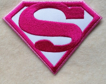 Super Hero Super Man Super Girl Iron On Embroidery Patch #White With Pink