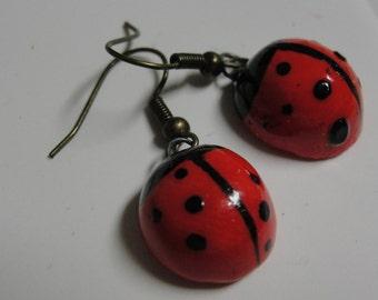 Acrylic Ladybug Dangle Pierced Earrings