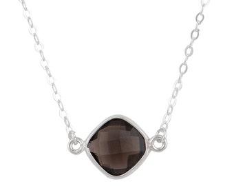 Smoky Quartz Bezel Set Gemstone Necklace