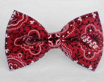 Red Bandana Bow Tie | Mens Wedding Bow Tie | Mens Bow Tie | Toddler Bow Tie | Boys Bow Tie | Dog Bow Tie | For Him | Groomsmen