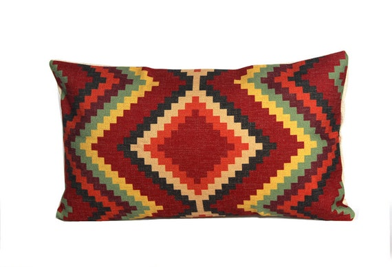 Aztec throw lumbar pillow covers 12x20 Kilim by jorgestudio