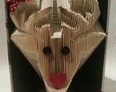 Hand made book fold Christmas Mrs Reindeer gift . Home decor . Keepsake upcycled perfect present x