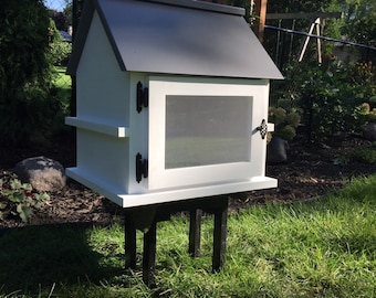 Handcrafted *Solid Wood* Little Outdoor Neighborhood Library-Made in USA