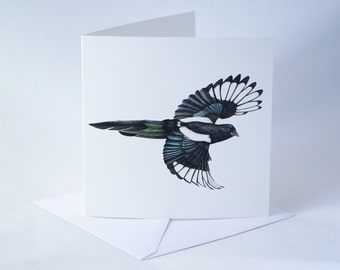 Magpie Greeting Card - Magpie Card - Square Hand-painted Watercolor Magpie Card