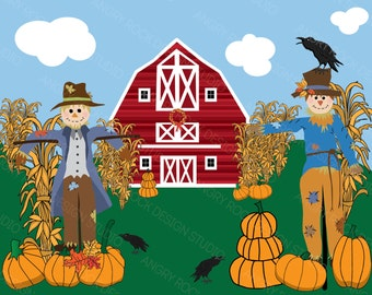 Scarecrows Fall Digital Clip Art Set