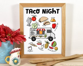 Food Illustration Art Print: Taco Night - Taco Food Truck and Fresh Ingredients