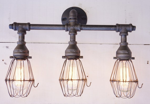 Vanity Light Ground Wire : Edison Bathroom Vanity Three Light With by 9thAveIronWorks on Etsy