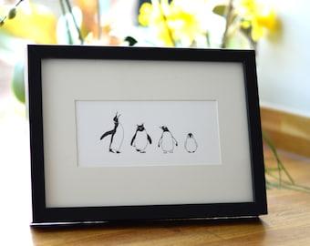 Penguin Letterpress Art - Penguin Print Unframed Art - Animal Print Nursery - Christmas - Small prints - Letterpress print - Penguin Gift