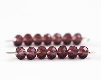 1649_Transparent vinous beads, Wine faceted roundels crystals beads, Glass rondelle beads, Vinous glass crystals Glass crystal beads 6 mm_95