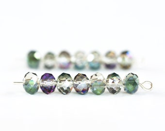 1359_Transparent_AB chameleon beads 6x4 mm, Faceted roundels crystals beads, Glass rondelle beads,Chameleon glass,Transparent crystals_95pcs
