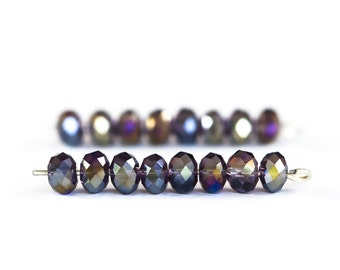 1772_Transparent_AB violet beads, Faceted roundels crystals beads,Glass rondelle beads,Violet glass crystals,Glass crystal beads 6 mm_95 pcs